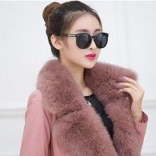 S-3XL 2016 New fashion High quality lambskin  fox fur collar coat, fur clothing fashion temperament ladys coats