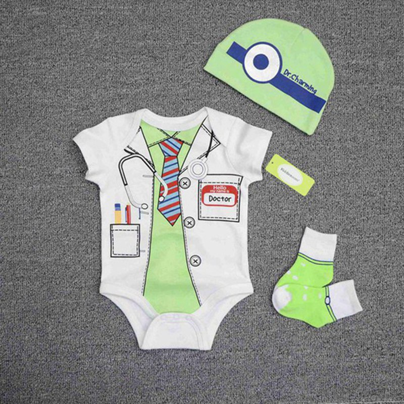 Baby Boys Girls Clothes Style Short Sleeve O-neck Newborn Baby Romper +hat+socks Jumpsuit Unisex Kids Clothing For Improving Blood Circulation