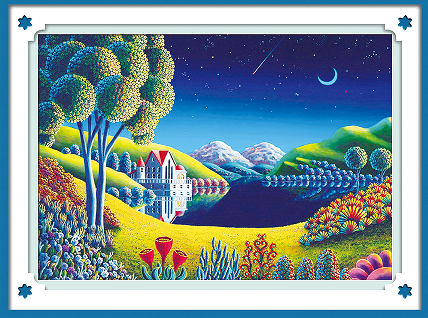 New!Night view of the villa diamond mosaic diamond painting 5d diy cross stitch suite diamond embroidery home decoration