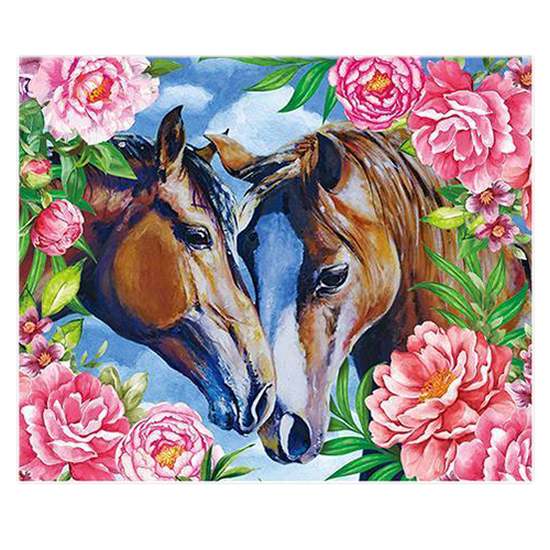 Hot DIY 5D Diamond Painting Embroidery Flower Animals Cross Crafts Stitch Kit Gift(Peony and horse)