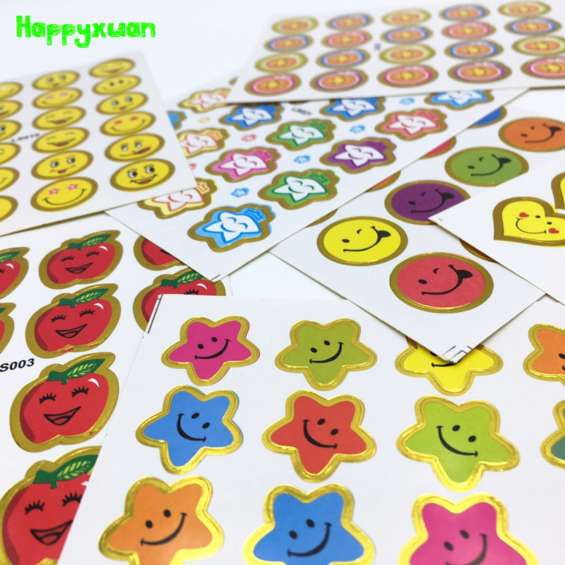 Happyxuan 8packs(80 Sheets) Kids Paper Mix Sticker Set Reward Child Kindergarten School Teacher Scrapbooking Smile Face Stars