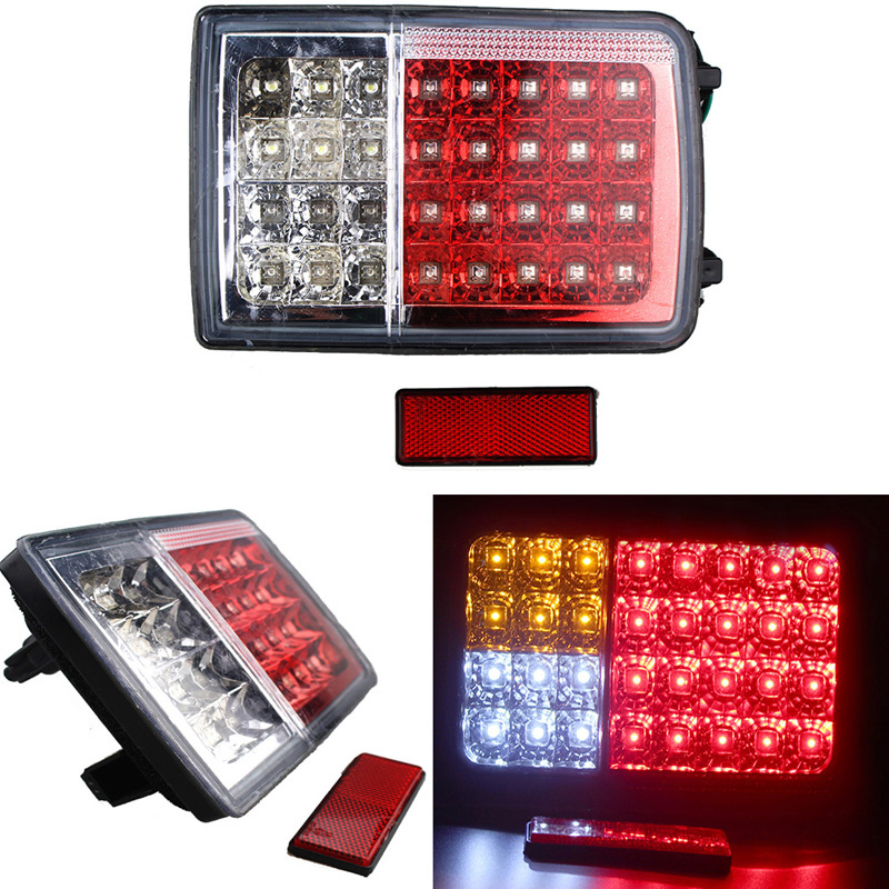 1 Pair 32 LED Trailer Truck Tail Lights Turn Signal Lights Side Lamp for 12V Vehicle Auto Tractor Red Yellow White high powered 6000k 18lm led vehicle signal lights 2 pack 12v t8 white