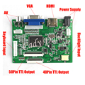 High Brightness HDMI VGA 2AV 50 Pins 40 Pins Parallel RGB TTL PC Controller Board for Raspberry PI 3 IPS TFT LCD Display Panel