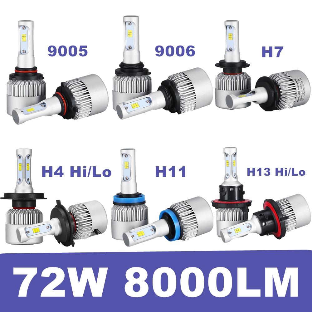 1Set H4 H13 Hi/Lo Bi Beam H7 H11 LED Headlight Car Bulb 72W Fog Lamps Automobile Led Headlamp 9005 9006 Car LED Headlights Bulbs