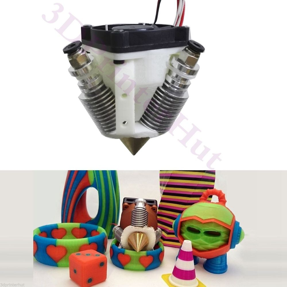 Horizon Elephant  Reprap 3D Printer Diamond Hotend Multi Color Hot End 3 IN 1 OUT Extruder HotEnd full kit/set for 0.4mm 1.75mm aluminium v6 heat block for reprap j head extruder hotend 3d printers parts heater hot end heating accessories 20 16 12 mm part
