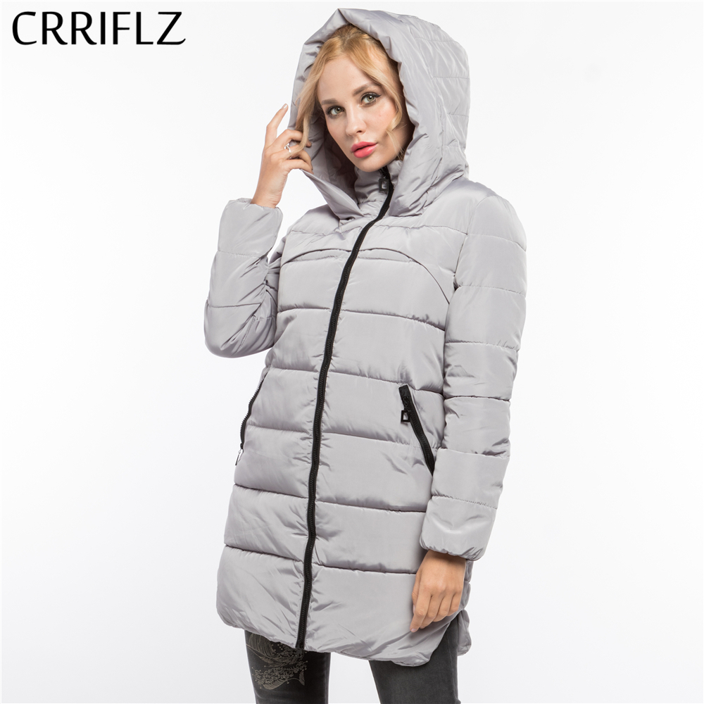 Fashionable Thick Long Warm Winter Jacket Women Hooded Coat Down   Parkas   Female Jacket Coat Outerwear CRRIFLZ 2017 New 4 Colors