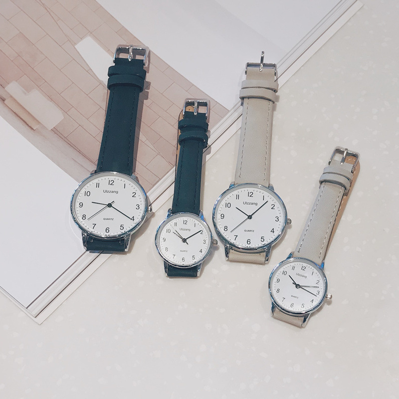 Ultra-thin lover wristwatches vintage leather quartz clock Ulzzang fashion brand classic simple scale dial men women watches