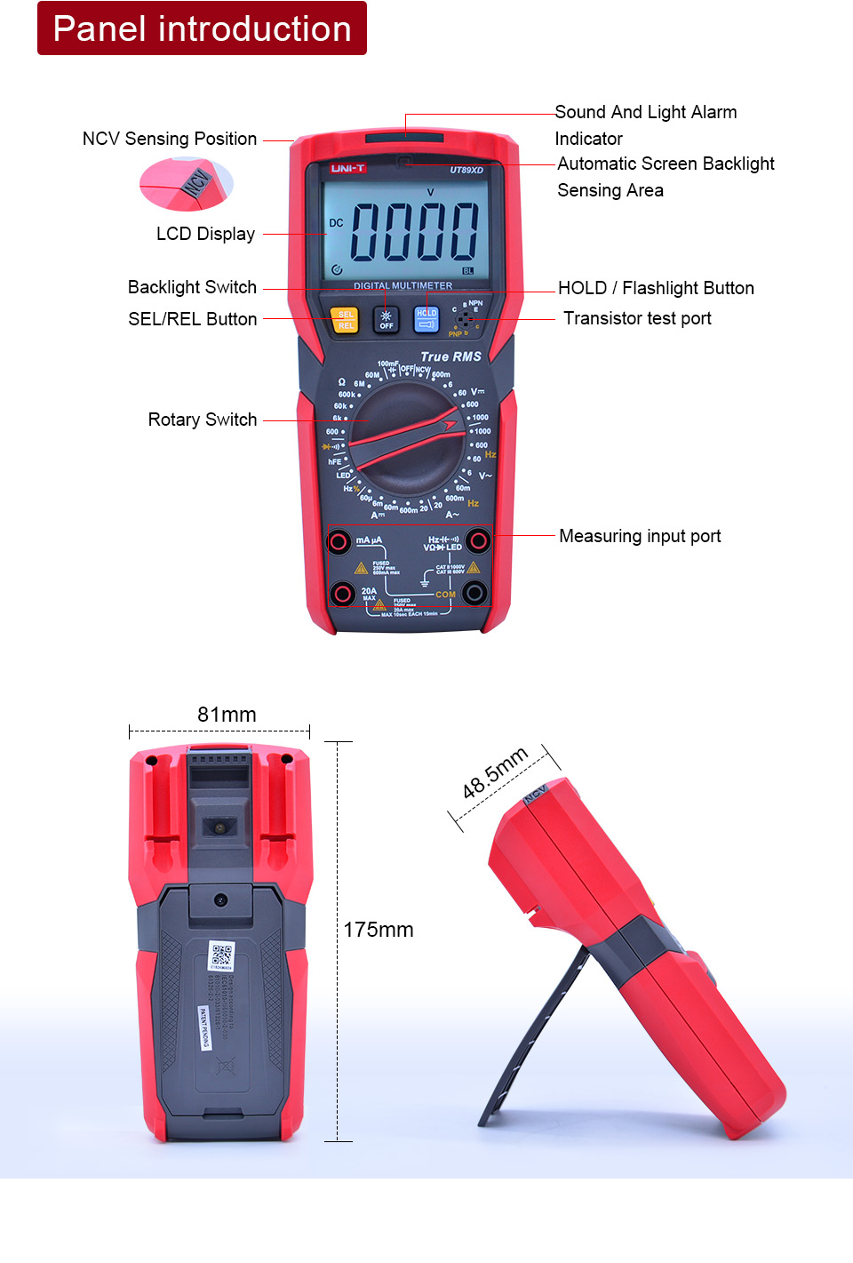 UNI T ut89xd trms multímetro digital tester