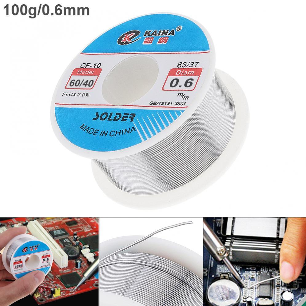 0,5/0,6/0,8/1/1,2/1,5/2,0mm 100g 60/40 FLUX 2.0% 45FT zinn Blei Zinn Draht Melt Rosin Core-Solder Löten Draht Rolle