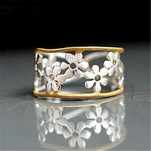 CANNER Silver Wedding Ring For Women Romantic Daisy Flower Rings Jewelry Engagement Hollow Adjustable Open Dropshipping R4