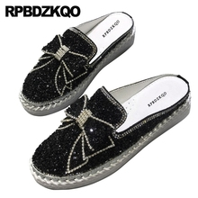 Diamant Mules cristal japonais pantoufles Muffin noir argent plate forme Bling femmes chaussures plates avec petit nœud papillon mignon Creepers