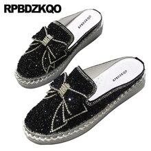 Diamante de Cristal Mulas Chinelos Japoneses Muffin Plataforma Preto Prata de Bling Mulheres Sapatos Flats Com Pouco Bonito Bowtie Trepadeiras