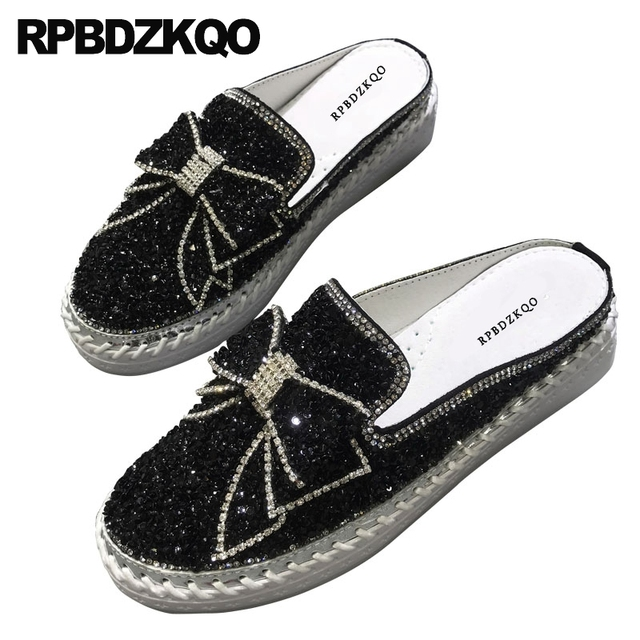 Diamond Mules Crystal Japanese Slippers Muffin Black Silver Platform Bling Women Flats Shoes With Little Cute Bowtie Creepers