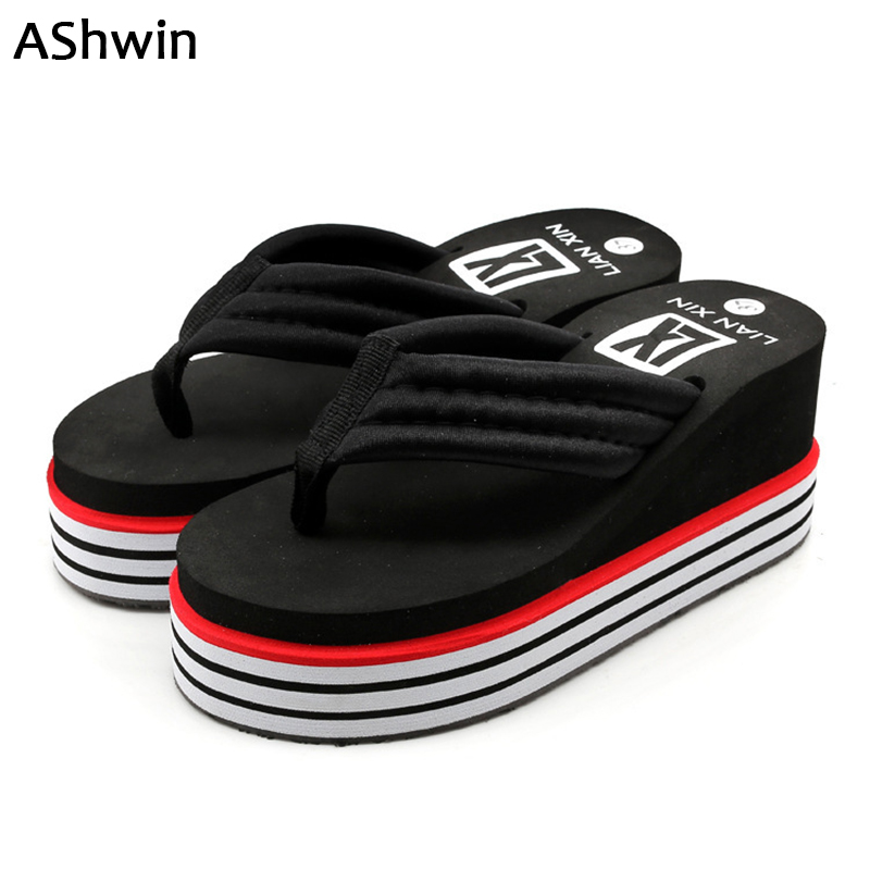 AShwin fashion high heels slippers wedge platform sandals summer beach slipper shoes quality TPR flip flops mules clogs cheap summer women slippers clogs mules eva 2018 flip flops beach garden shoes fashion breathable sandals outdoor zapatos mujer colors
