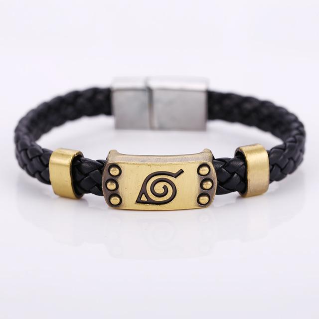 Naruto leaf Leather Bracelets