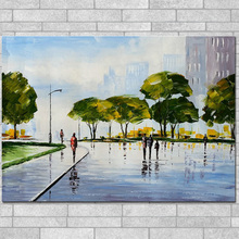 Handmade Street Scene Canvas Oil Painting For Home Wall Decoration Hand Painted Palette Knife Figurative Landscape Oil Painting