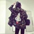 2017 новых Корейских Женщин в длинный отрезок Пальто Вышитые пайетками rocket женский Камуфляж куртка с капюшоном jaqueta feminina