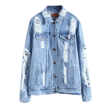 Women's New Fashion Spring Autumn Vintage Denim Jacket Female Casual Street Wear Hole Long Sleeves Loose Jackets Blue