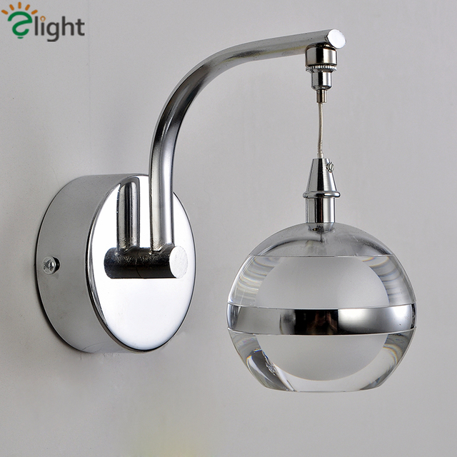 1 Head Modern Led Lustre Mounted Plated Metal Acrylic Ball Wall Lamp For Bedroom