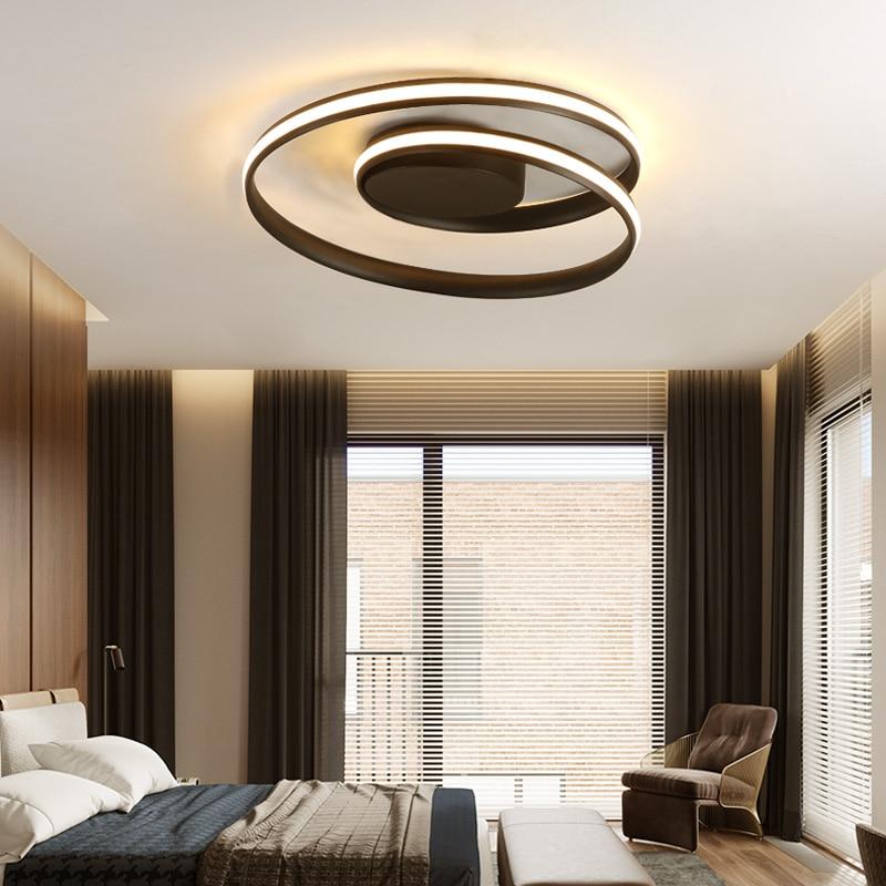Minimalism modern LED ceiling lights black/white aluminum ceiling lamp living room bedroom lamparas de techo colgante modern