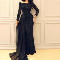 Setwell 2019 Bateau Neck Sheath Evening Dress Long Sleeves Major Beaded Floor Length Prom Party Gown With Detachable Train