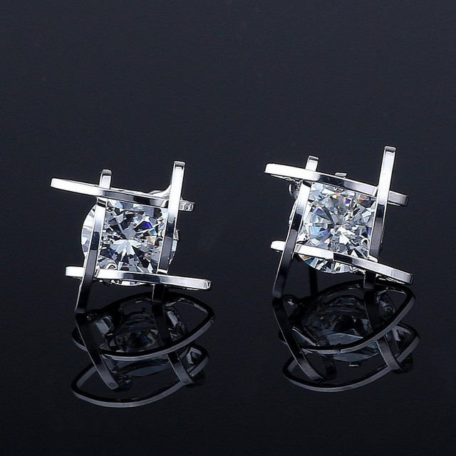 European and American Trinkets Triangle Zircon Gold Earring Stud Buyback Offer 2018