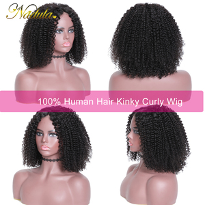 Image 3 - Nadula Hair 13*4 Short Bob Mongolian Kinky Curly Hair Wigs for Women Kinky Curly Lace Front Human Hair Wig Bob Lace Front Wig