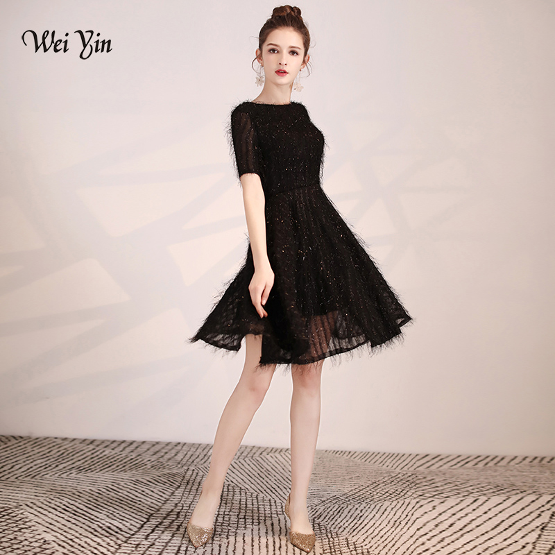 weiyin 2019 New Arrival O Neck Black Short Wedding Party   Dress   Mini   Cocktail     Dresses   Prom   Dress   WY1579
