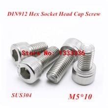 100pcs M5*10 Hex socket head cap screw, DIN912 304 stainless steel Hexagon Allen cylinder bolt, cup screws(China (Mainland))