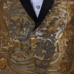 Image 5 - PYJTRL メンズピンクゴールド花スパンコールファンシー Paillette のウェディング歌手ステージパフォーマンススーツジャケット年次 DJ ブレザーと蝶ネクタイ