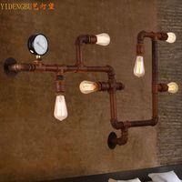 Americano antigo lâmpada de parede de água  vento industrial restaurante  lâmpada de parede  corredor nostálgico lâmpada de parede  sótão lâmpada de parede do café|Luminárias de parede| |  -