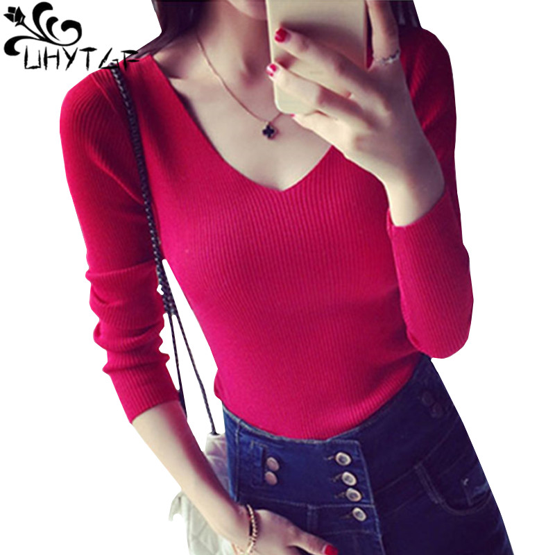 UHYTGF Autumn Woman Sweater Korean Fashion Long sleeve V-Neck Sexy Sweater Ladies Knit Sweater Pullover Female Sueter Mujer 563
