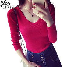 UHYTGF – pull en tricot à manches longues et col en v pour femme, chandail Sexy à la mode coréenne, collection automne 563