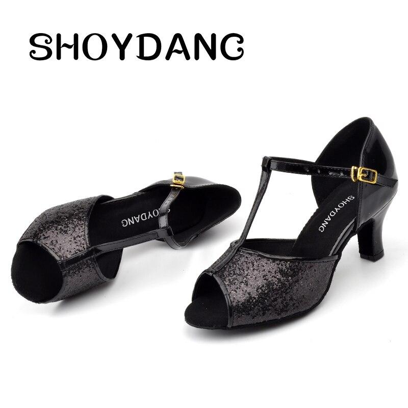 Chaussures de danse SHOYDANC chaussures de danse de Tango Salsa professionnelles pour femmes chaussures de danse latine paillettes noires talon 6-10 cmChaussures de danse SHOYDANC chaussures de danse de Tango Salsa professionnelles pour femmes chaussures de danse latine paillettes noires talon 6-10 cm
