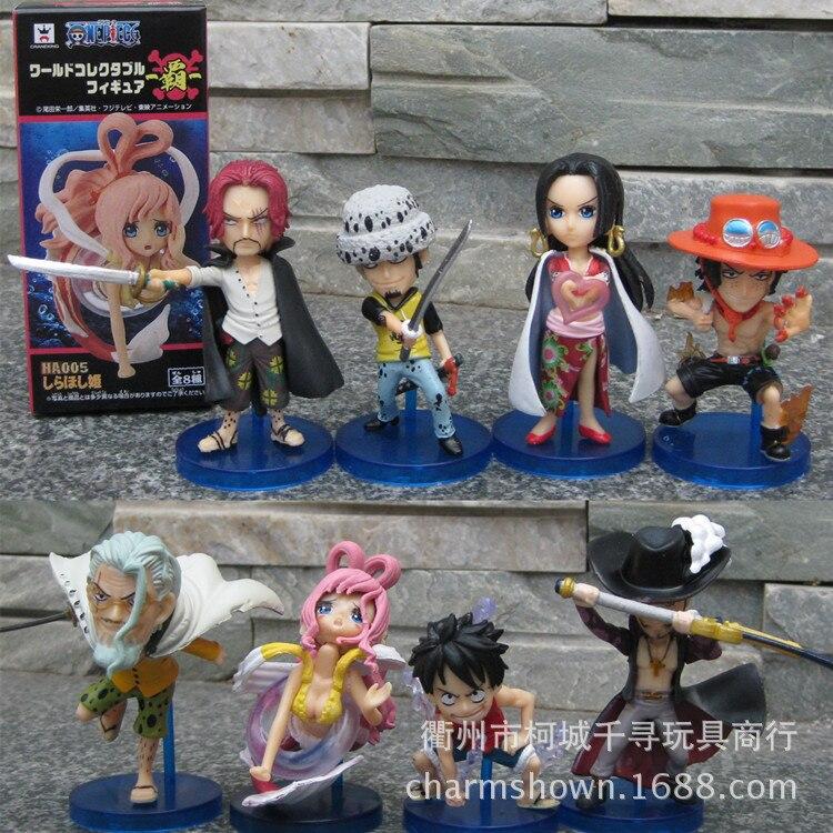 Classic Anime 8pcs/set Luffy Ace Trafalgar Law Shanks One Piece Anime Collectible Action Figures PVC Collection christmas gift truefitt hill мыло для бритья trafalgar 150гр