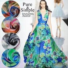 1Meter/Lot 140CM Width  Ultra-thin 100%Mulberry Silk Chiffon Light Blue Print Fabric Material Textile For Dress Shirt Scarf