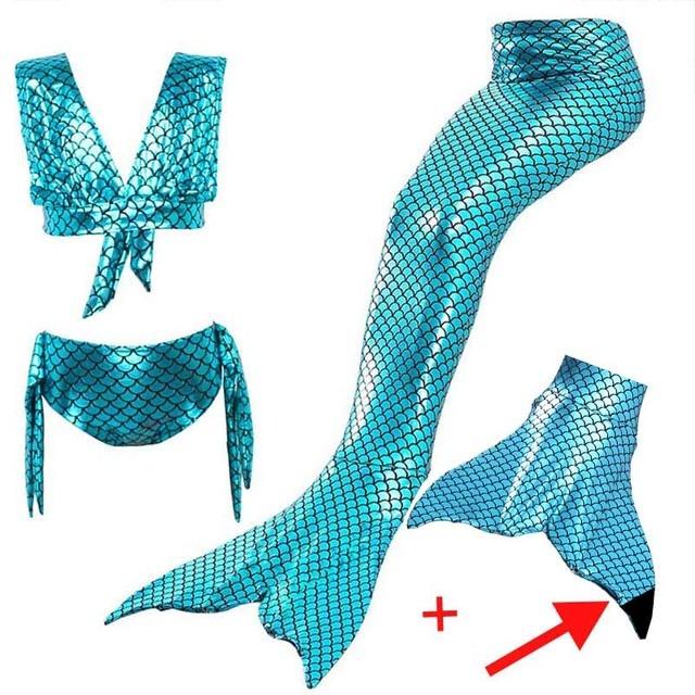 c3f16ee661a2 Girls Mermaid Tail Swimsuit Sets Sea-Maid Swimwear Bathing Kids Mermaid Tail  With Black Monofin For Swimming Girls Bikini Suit