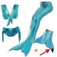 Girls Mermaid Tail Swimsuit Sets Sea Maid Swimwear Bathing Kids Mermaid Tail With Black Monofin For Swimming Girls Bikini Suit