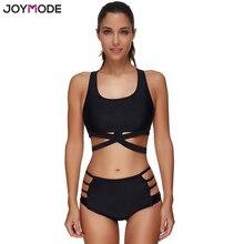 Joymode nueva llegada vendaje bikini set mujeres negro traje de baño de cintura alta push up sport bikini traje de baño