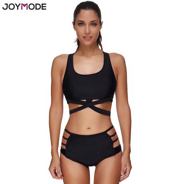d7add89921bb18 JOYMODE Sexy Bandage Bikini Set Zwart Vrouwen Badmode Hoge Taille Push Up  Sport Badpak Twee Stuks