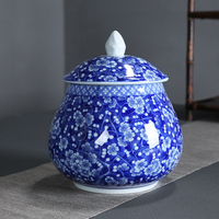 Chinese blue and white porcelain sealed Pu'er storage tea box double can gift box