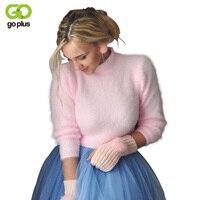 GOPLUS Alta Calidad suéter de Cachemira Suéter Suéter Del O-cuello Rosa Blanco Ocasional Flojo Suéter de Punto Tops Suéter Básico de la Mujer