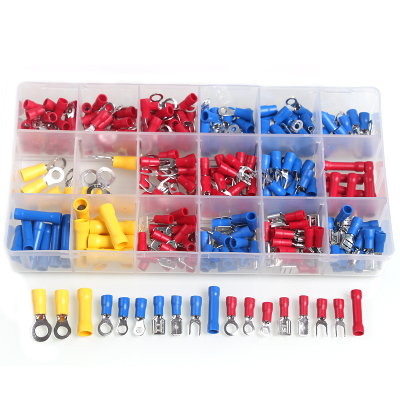 300pcs Crimp Terminals Butt Electrical Wire Insulated Terminator Spade Butt Connectors Red Yellow Blue Assorted terminales Set 480pcs heat shrink electrical connectors assorted insulated crimp terminals ring butt kit red yellow blue