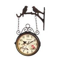 Unikalny prezent-RETRO zegar sztuki-2017 retro metal żelaza home LIVING ROOM Study Korytarz dekoracyjne podwójne dwa obliczu zegar ścienny