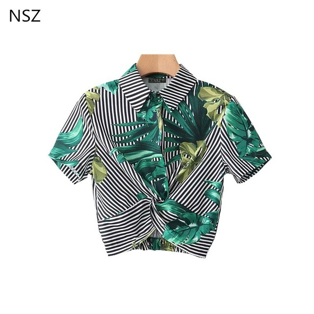9f83c92a4ebec6 NSZ Women Summer Crop Top Green Leaves Shirt Short Sleeve Blouse Bow Front  Shirt Striped Print