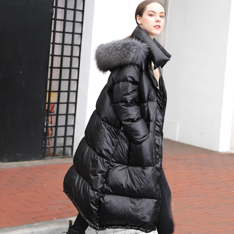 Real Natural Raccoon Fur 2019 Winter Jacket Women Long White Duck Down Jacket Outwear Hooded Loose Coat Thick Warm Down Parka
