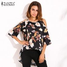 ZANZEA Blusas Femininas 2017 New Sexy Women Floral Print Blouses Fashion Flare Sleeve O Neck Off