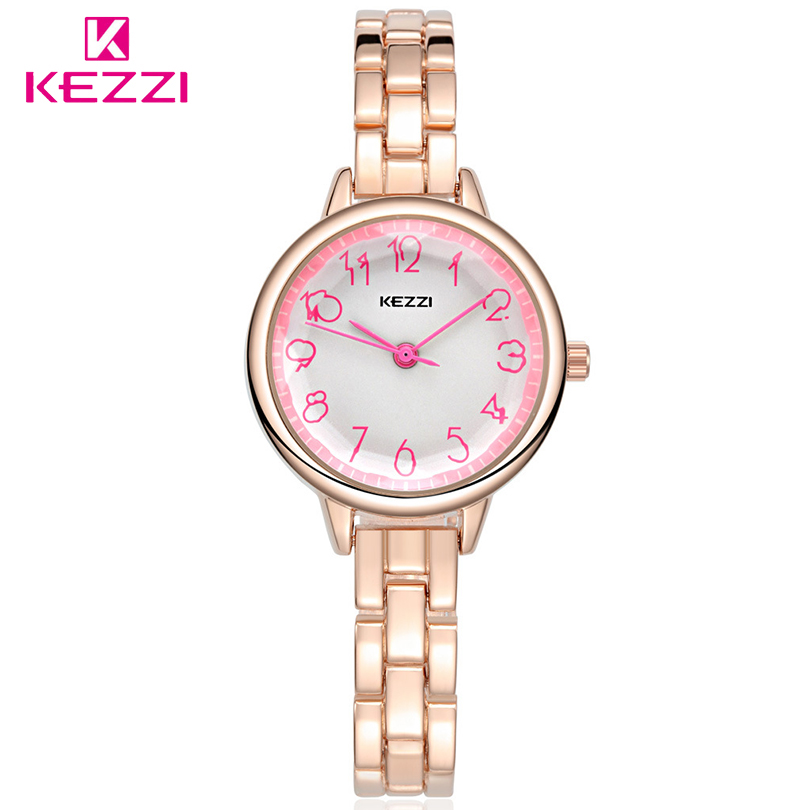 KEZZI Luxury Fashion Women Analog Quartz Watch  Stainless Steel Strap Teen Girls Ladies Bracelet Wrist watches Female Gift Clock essential nary wristwatch bangle bracelet luxury men stainless steel classical quartz analog wrist watch gift 17tue27