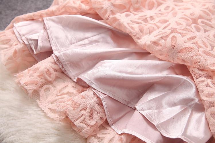 D'o Haute cou rose Longues À Robe Manches Paillettes De Patchwork Qualité Printemps Femmes Mince Féminine 2018 Couture Noir Américain Maille Été Dentelle 1wzq8vXX