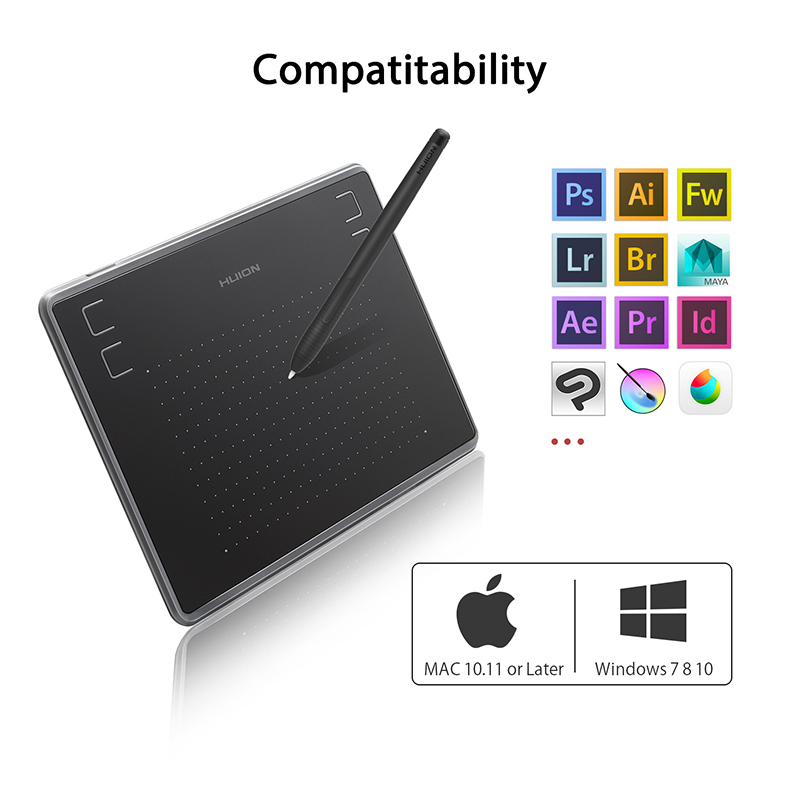 HUION H430P Graphics Drawing Digital Tablets Signature Pen Tablet OSU Game  Tablet with Battery-Free Stylus Pen with Glove Gift